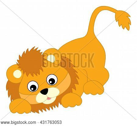 Cute Happy Baby Lion Sneaking. Vector Baby Lion. Lion Cub Vector Illustration