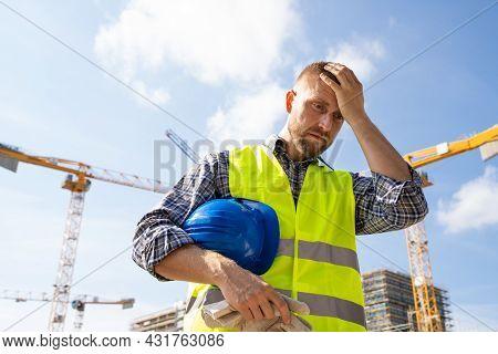 Unhappy Sad Construction Worker. Upset Foreman Frustration