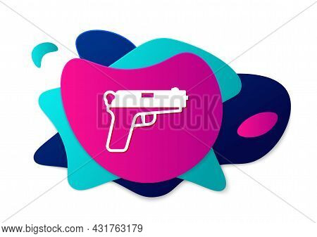 Color Pistol Or Gun Icon Isolated On White Background. Police Or Military Handgun. Small Firearm. Ab