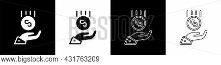 Set Coins On Hand - Minimal Wage Icon Isolated On Black And White Background. Vector