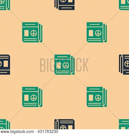 Green And Black News Icon Isolated Seamless Pattern On Beige Background. Newspaper Sign. Mass Media