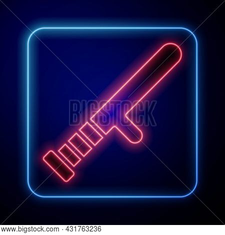 Glowing Neon Police Rubber Baton Icon Isolated On Black Background. Rubber Truncheon. Police Bat. Po