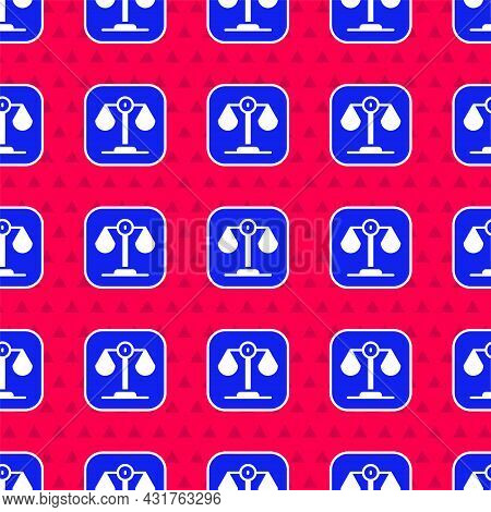 Blue Scales Of Justice Icon Isolated Seamless Pattern On Red Background. Court Of Law Symbol. Balanc