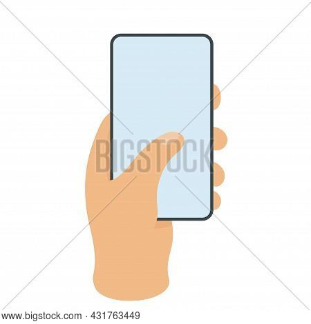 Human Hand Holding Bezel-less Smartphone. Isolated Hand With Phone. Blank Screen. Vector Illustratio