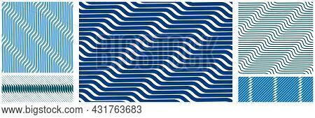 Geometric Wavy Lines Seamless Pattern Vector Set, 3D Dimensional Endless Background Wallpaper Design