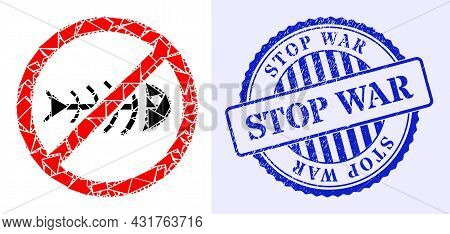 Shatter Mosaic Stop Toxic Waste Icon, And Blue Round Stop War Grunge Seal With Tag Inside Round Form