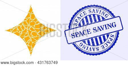 Shatter Mosaic Space Star Icon, And Blue Round Space Saving Grunge Stamp Seal With Caption Inside Ci