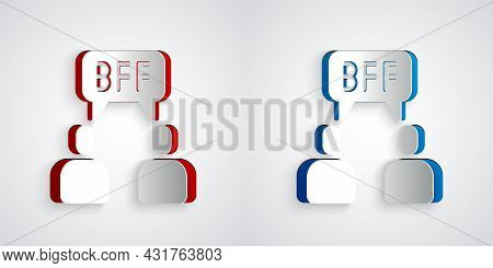 Paper Cut Bff Or Best Friends Forever Icon Isolated On Grey Background. Paper Art Style. Vector