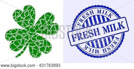 Shards Mosaic Lucky Clover Leaf Icon, And Blue Round Fresh Milk Scratched Stamp With Word Inside Rou