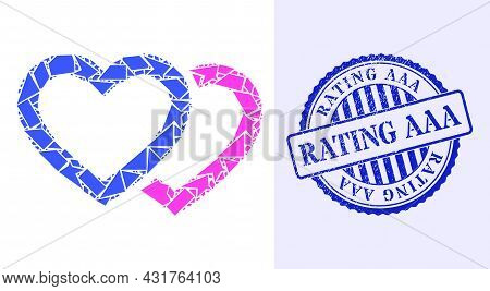 Spall Mosaic Romantic Hearts Icon, And Blue Round Rating Aaa Rough Stamp Print With Text Inside Roun