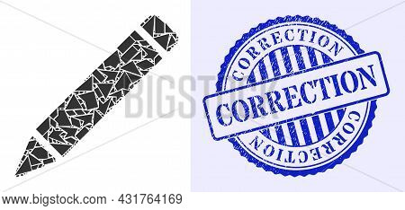 Shatter Mosaic Pencil Icon, And Blue Round Correction Grunge Stamp With Text Inside Round Shape. Pen
