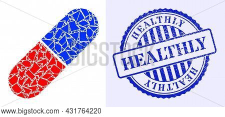 Fraction Mosaic Medical Pill Icon, And Blue Round Healthly Corroded Stamp Seal With Text Inside Circ