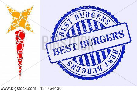 Fragment Mosaic Starting Star Icon, And Blue Round Best Burgers Grunge Stamp Seal With Text Inside C