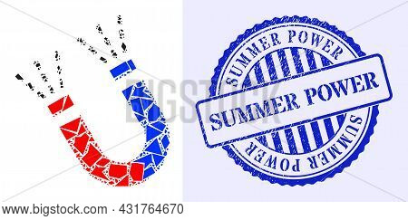 Debris Mosaic Magnet Force Icon, And Blue Round Summer Power Scratched Seal With Caption Inside Roun