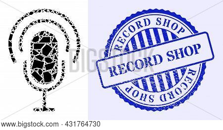 Shatter Mosaic Podcast Icon, And Blue Round Record Shop Textured Stamp Seal With Caption Inside Roun