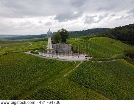 View On Lighthouse And Green Pinot Noir Grand Cru Vineyards Of Famous Champagne Houses In Montagne D