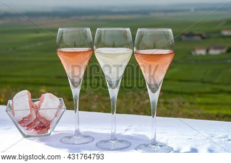 Tasting Of White And Rose Brut Champagne Wine With View On Green Pinot Noir Grand Cru Vineyards Of F