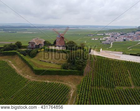 View On Moulin De Verzenay And Green Pinot Noir Grand Cru Vineyards Of Famous Champagne Houses In Mo