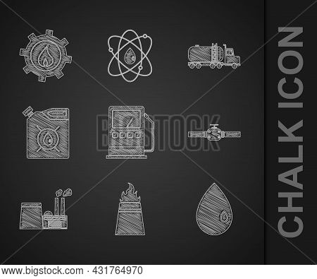 Set Petrol Or Gas Station, Oil Rig With Fire, Drop, Industry Pipes And Valve, Industrial Factory Bui