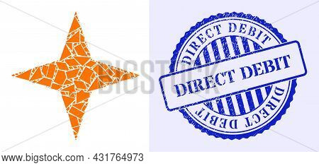 Shard Mosaic Space Star Icon, And Blue Round Direct Debit Textured Stamp Seal With Tag Inside Round