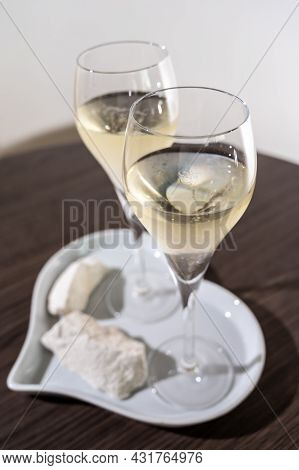 Blanc De Blancs Brut Champagne Sparkling Wine Made From Chardonnay Grapes Growing On White Chalk Soi