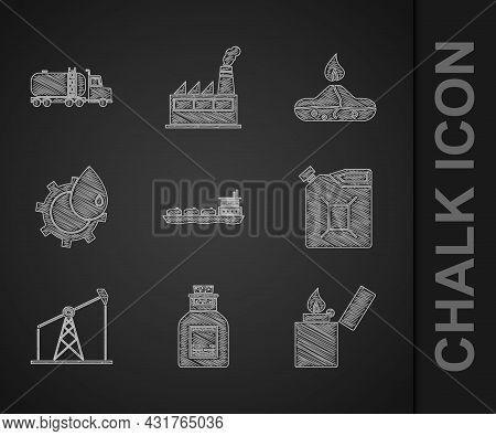 Set Oil Tanker Ship, Petrol Test Tube, Lighter, Canister For Gasoline, Pump Pump Jack, Industrial Fa