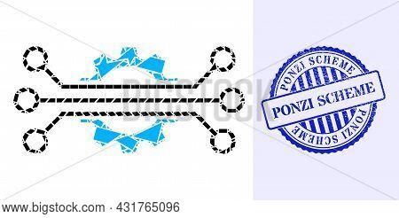 Debris Mosaic Digital Industry Icon, And Blue Round Ponzi Scheme Rough Stamp With Tag Inside Round F