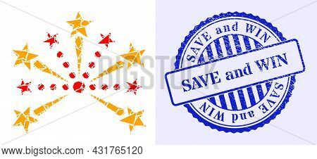 Fraction Mosaic Pyrotechnic Salute Icon, And Blue Round Save And Win Grunge Stamp Imitation With Tex