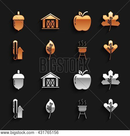 Set Leaf Or Leaves, Barbecue Grill, Meteorology Thermometer, Apple, Acorn And Farm House Icon. Vecto
