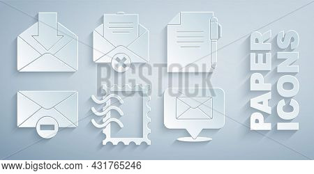Set Postal Stamp, Document And Pen, Delete Envelope, Speech Bubble With, And Envelope Icon. Vector