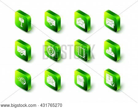 Set Delete Envelope, Outgoing Mail, Envelope, Download Inbox, With Shield, Postal Stamp, Document An