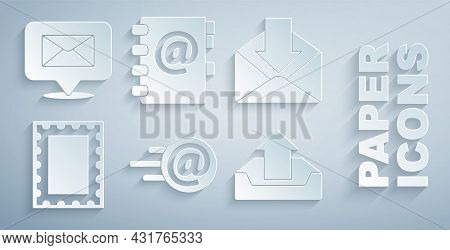 Set Mail And E-mail, Envelope, Postal Stamp, Upload Inbox, Address Book And Speech Bubble With Envel
