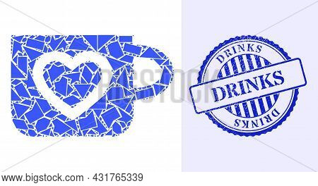 Debris Mosaic Favourite Cup Icon, And Blue Round Drinks Corroded Stamp With Word Inside Round Shape.