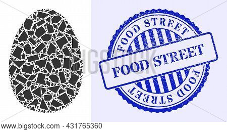 Shard Mosaic Egg Icon, And Blue Round Food Street Rubber Badge With Tag Inside Round Shape. Egg Mosa
