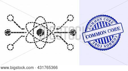 Shatter Mosaic Quantum Circuit Icon, And Blue Round Common Core Grunge Stamp Seal With Word Inside R