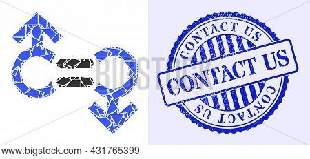 Debris Mosaic Gay Relation Symbol Icon, And Blue Round Contact Us Corroded Stamp Seal With Text Insi