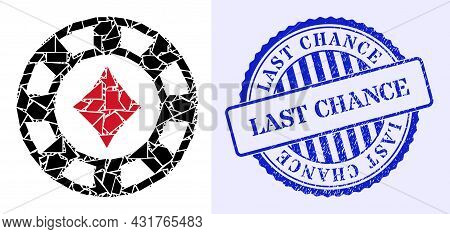Shards Mosaic Diamonds Casino Chip Icon, And Blue Round Last Chance Unclean Stamp Seal With Tag Insi