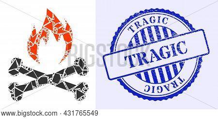 Debris Mosaic Hell Fire Bones Icon, And Blue Round Tragic Grunge Stamp Imitation With Caption Inside