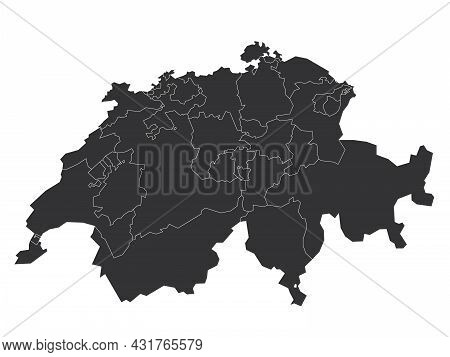 Blank Political Map Of Switzerland. Administrative Divisions - Cantons. Simple Solid Gray Map.