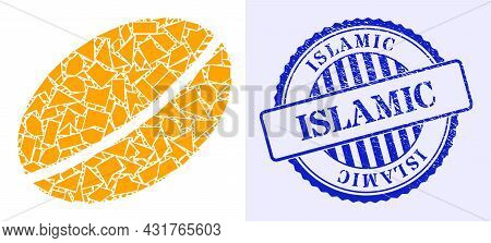 Spall Mosaic Wheet Seed Icon, And Blue Round Islamic Grunge Stamp Print With Word Inside Round Form.