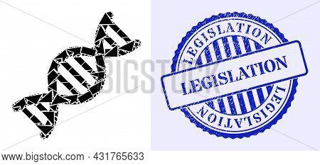 Debris Mosaic Genome Molecule Icon, And Blue Round Legislation Grunge Badge With Caption Inside Roun
