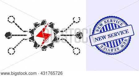 Fragment Mosaic Energy Hitech Icon, And Blue Round New Service Textured Stamp Seal With Caption Insi