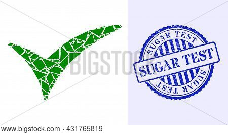 Shard Mosaic Confirm Icon, And Blue Round Sugar Test Corroded Watermark With Text Inside Round Form.