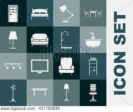 Set Office Chair, Bathroom Rack With Shelves For Towels, Washbasin Water Tap, Table Lamp, Sofa, Clos