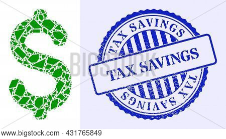 Debris Mosaic Dollar Price Icon, And Blue Round Tax Savings Grunge Stamp Imitation With Text Inside