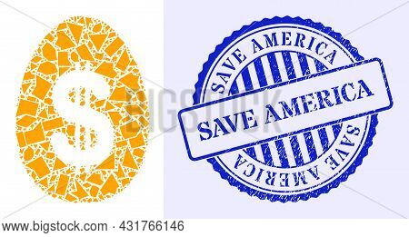 Shatter Mosaic Dollar Deposit Egg Icon, And Blue Round Save America Corroded Seal With Tag Inside Ro