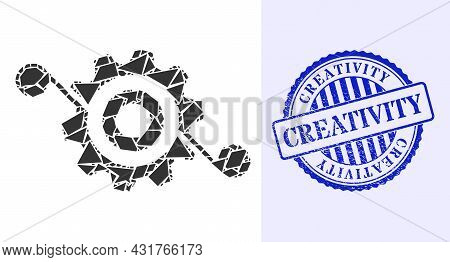 Debris Mosaic Gear Solution Icon, And Blue Round Creativity Grunge Seal With Caption Inside Round Fo