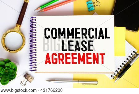 Text Commercial Lease Agreement On White Paper