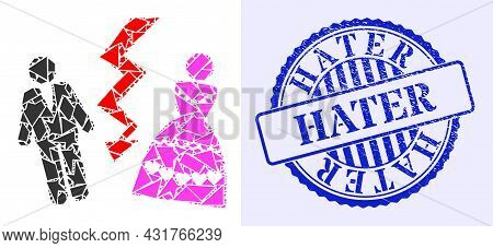 Fragment Mosaic Divorce Persons Icon, And Blue Round Hater Corroded Watermark With Text Inside Round