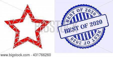 Fragment Mosaic Contour Star Icon, And Blue Round Best Of 2020 Rubber Stamp Seal With Text Inside Ro